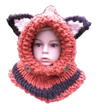 Snood à capuchon enfant, modèle Renard - KC's artisanat made in Belgium