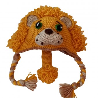 Bonnet cache-oreilles - Lion - KC's artisanat made in Belgium