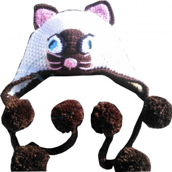 Bonnet cache-oreilles - Chat siamois - KC's artisanat made in Belgium