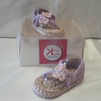 Tongs bébé crochetés - KC's artisanat made in Belgium