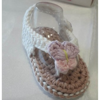 Tongs bébé crochetées - KC's artisanat made in Belgium