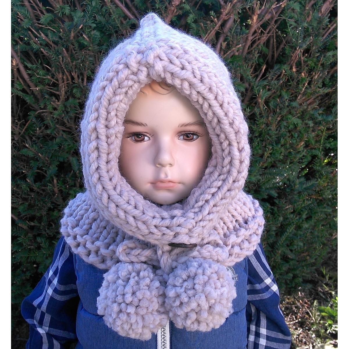 Snood à capuchon enfant, au tricot, à personnaliser, en coloris beige (006 1f34b9e9552