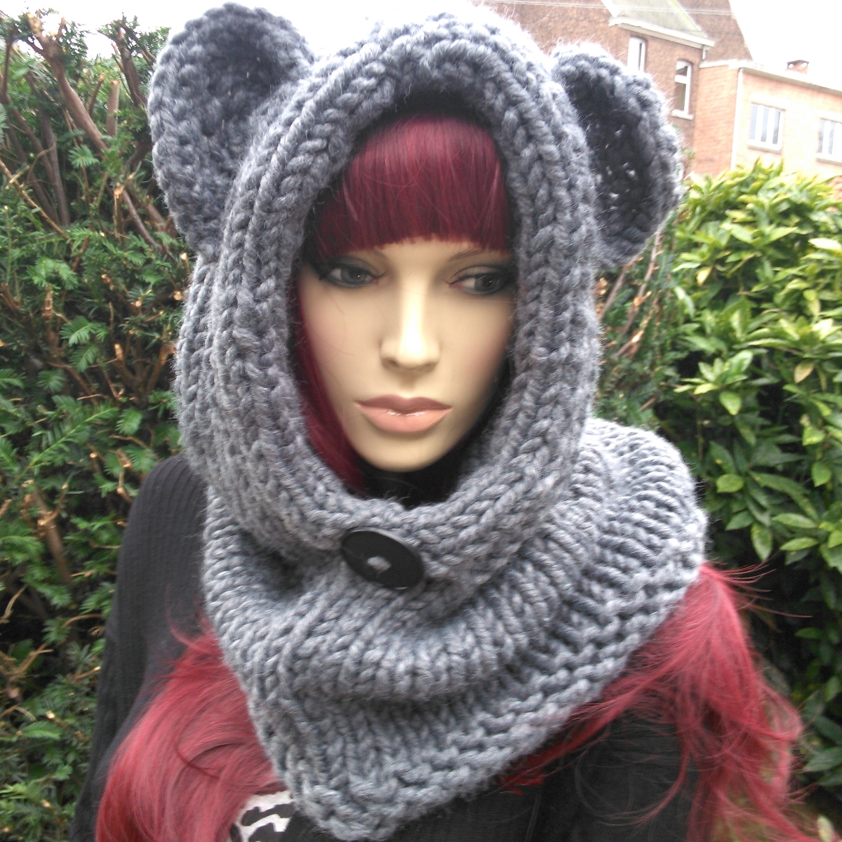 Snood à capuchon femme, au tricot, à personnaliser, en coloris gris foncé ( 025b7949f9d