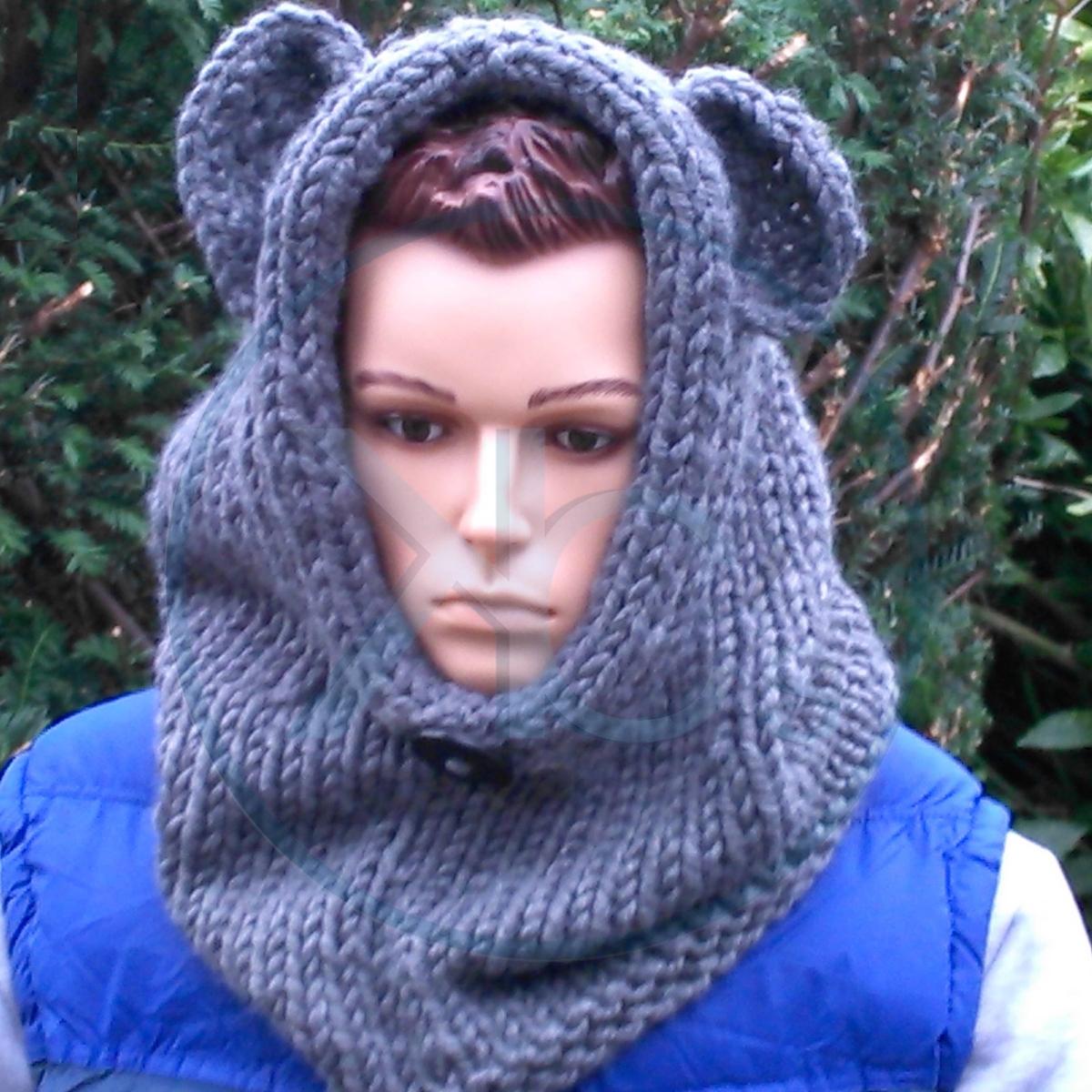 Snood à capuchon homme, au tricot, à personnaliser, en coloris gris foncé ( 232105603ee