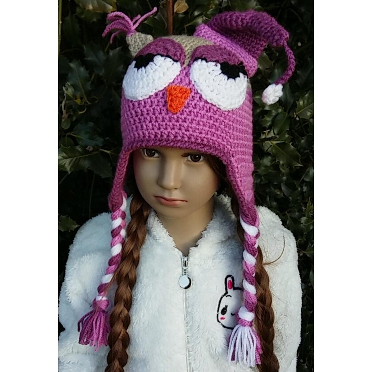 Bonnet cache,oreilles enfant , Hibou avec bonnet de nuit yeux mi,clos,