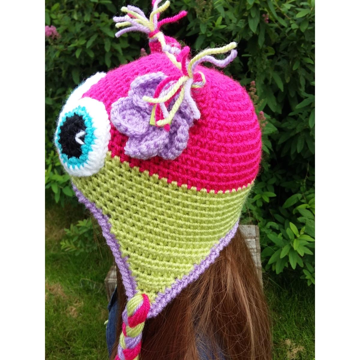 Bonnet cache,oreilles enfant , Hibou, coloris fuchsia et anis