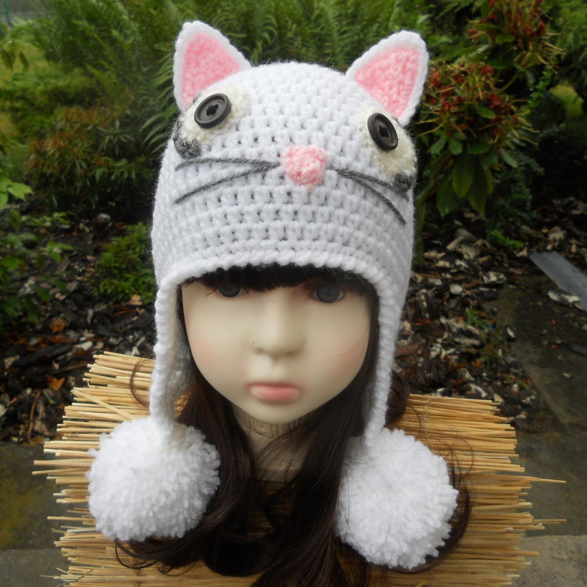 Bonnet cache,oreilles femme , Chat blanc