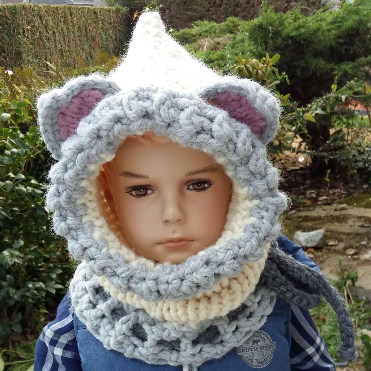 Snood à capuchon enfant - Loup - crème et gris clair tricot crochet 86e10ae838f